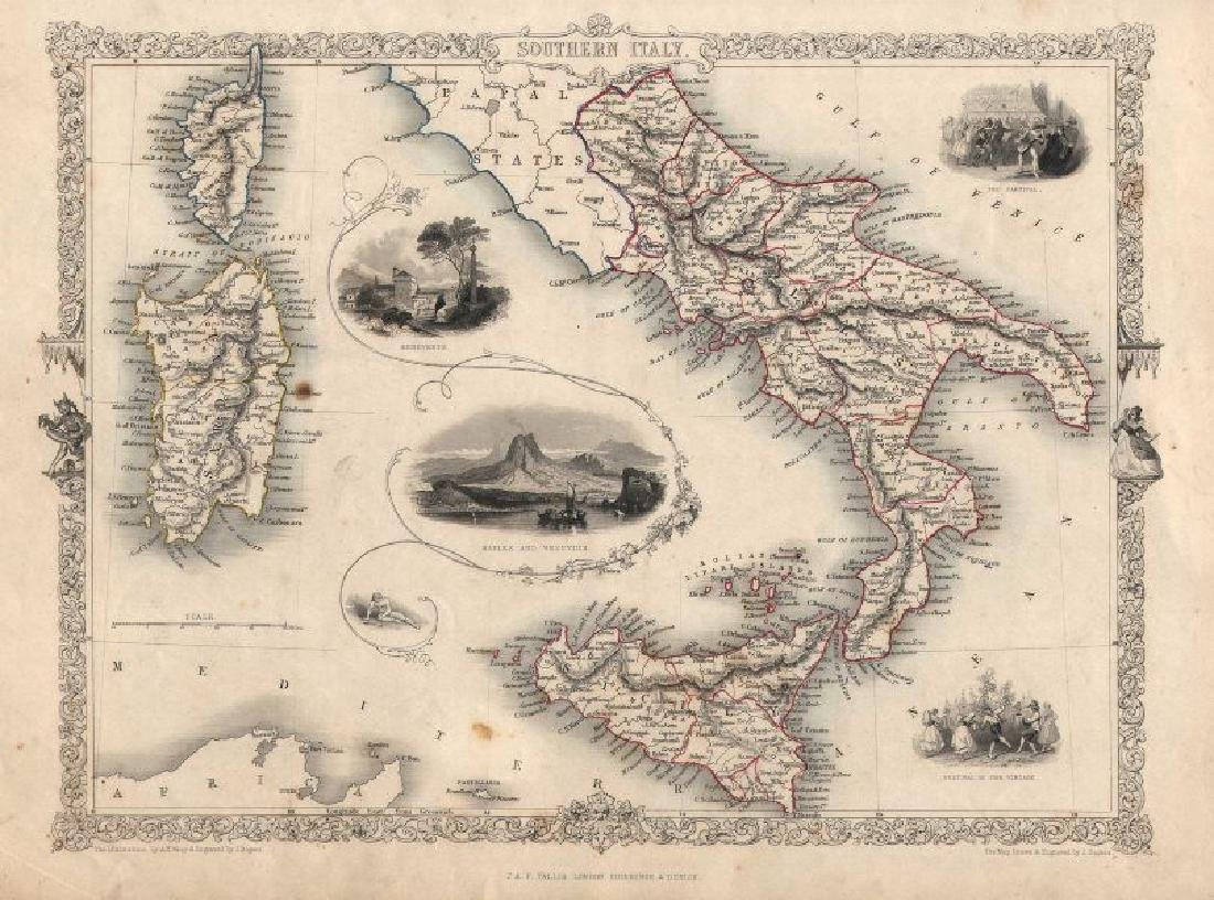 Tallis/Rapkin: Antique Map of Southern Italy, 1851