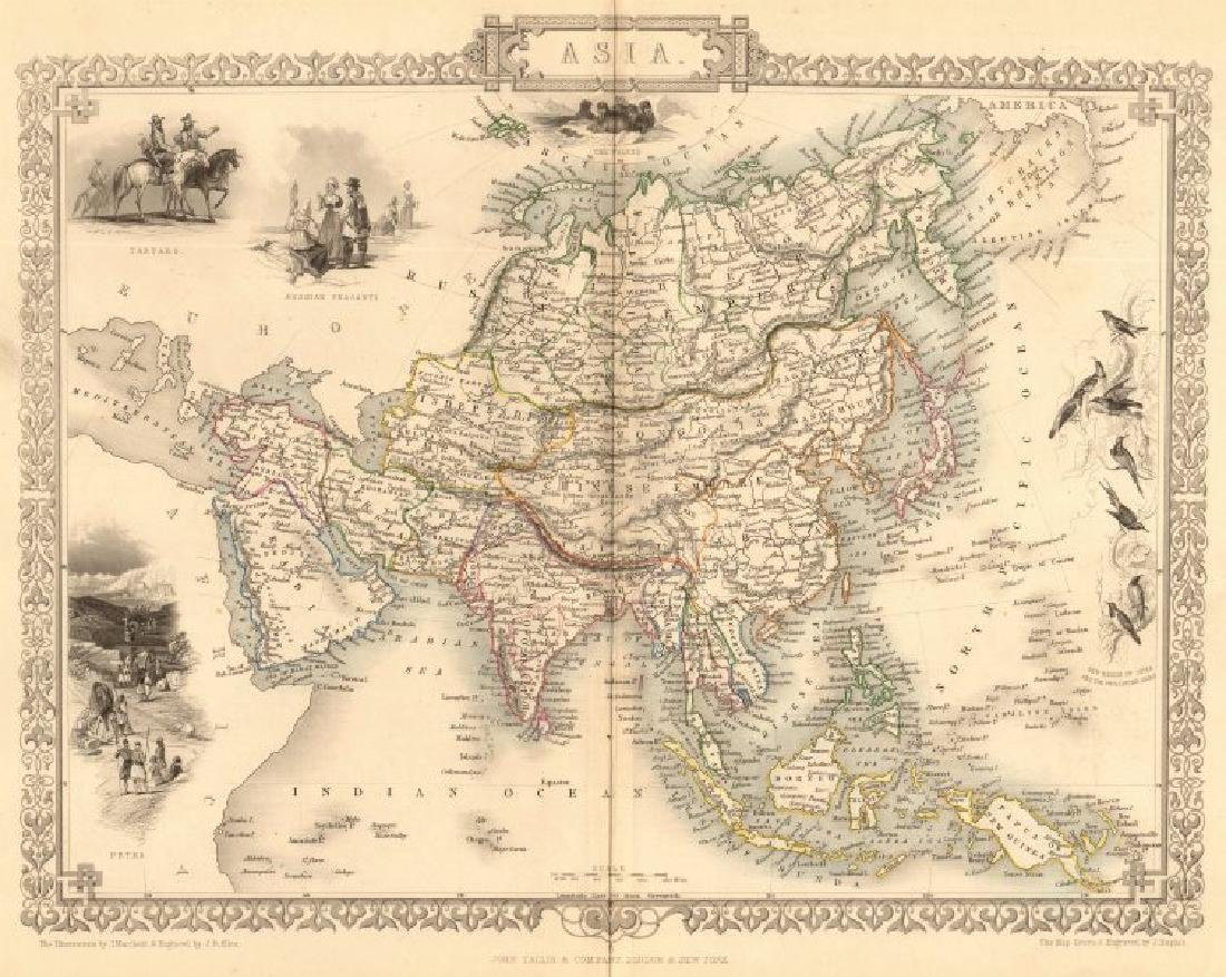 Tallis/Rapkin: Antique Map of Asia, 1849