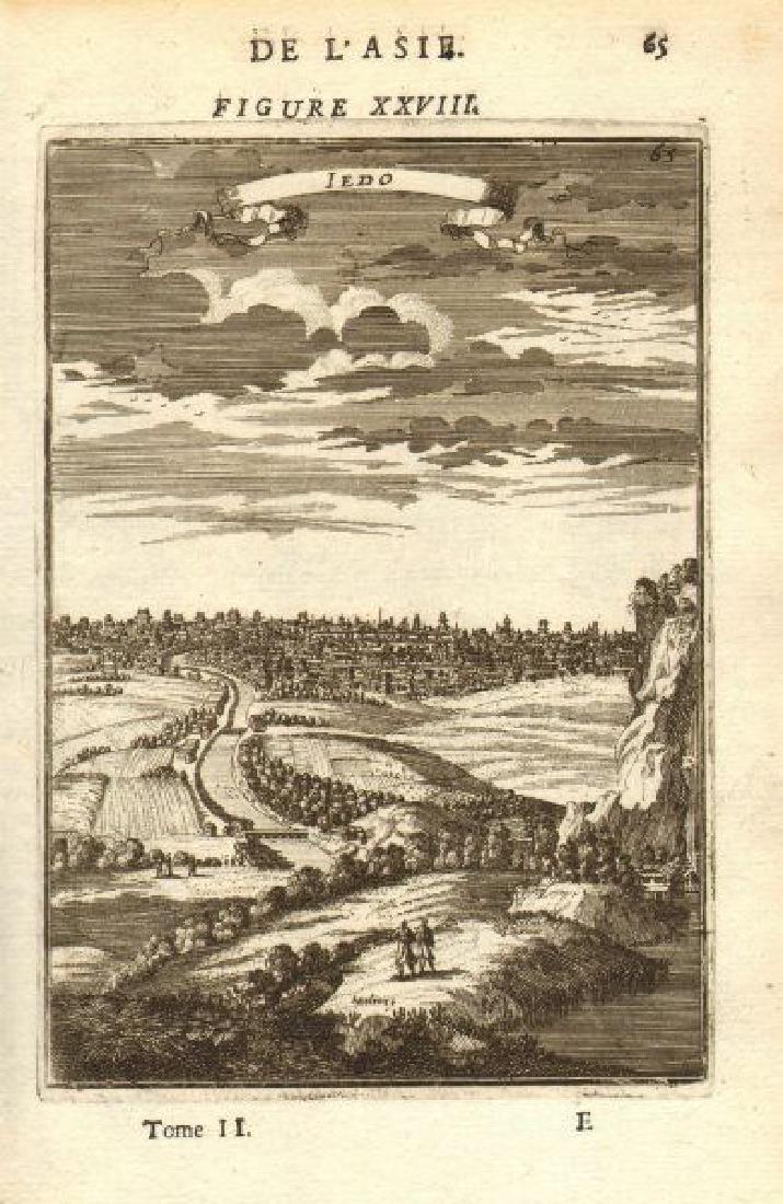 Mallet: Antique View of Tokyo, Iedo, Japan 1683