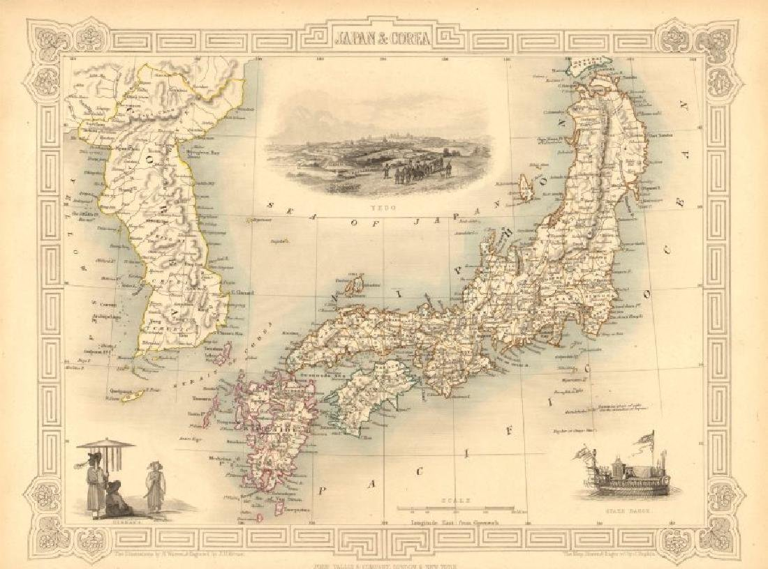 Tallis/Rapkin: Antique Map of Japan & Korea, 1851