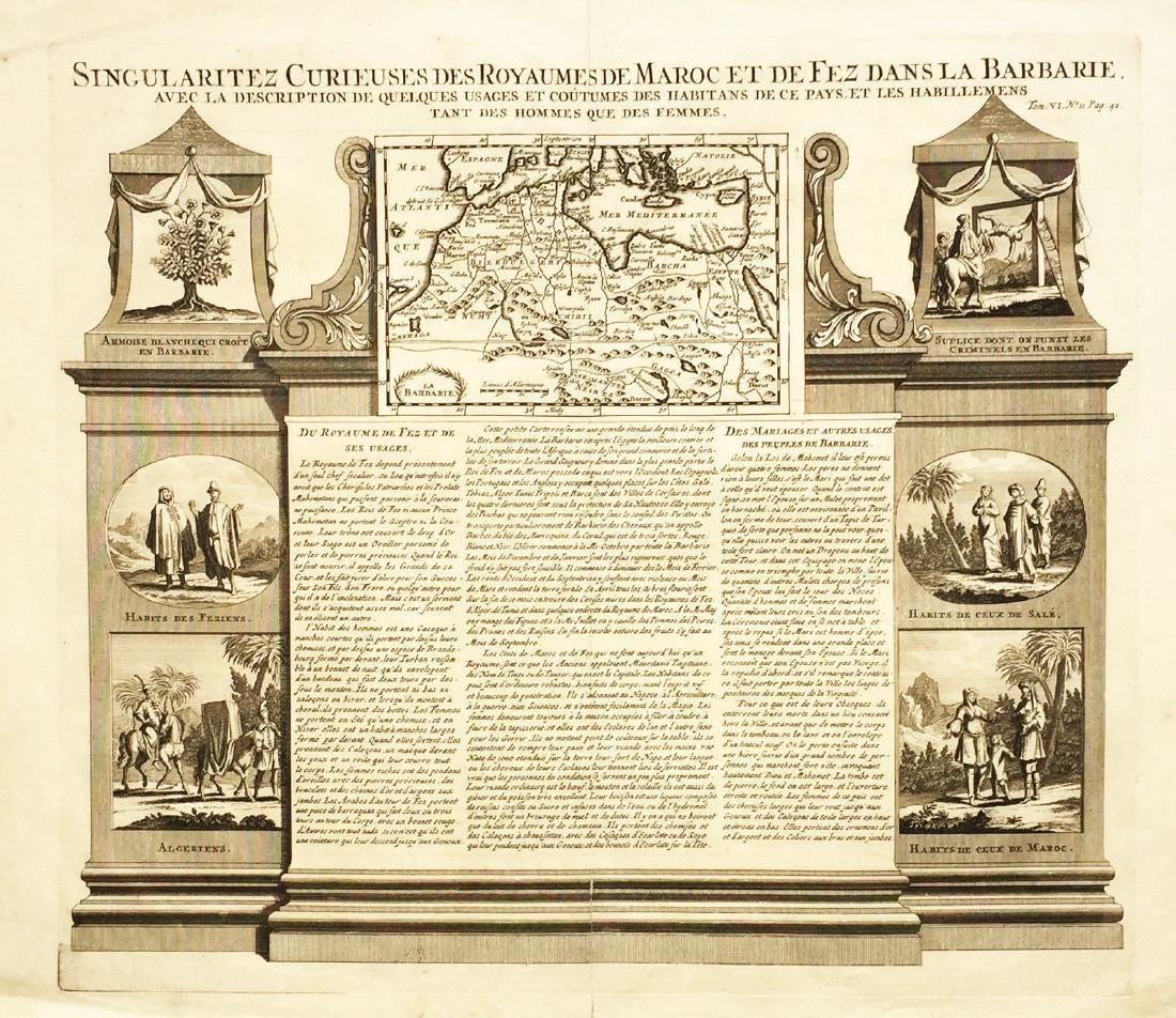 Chatelain: Antique Map and Views of Morocco, 1719