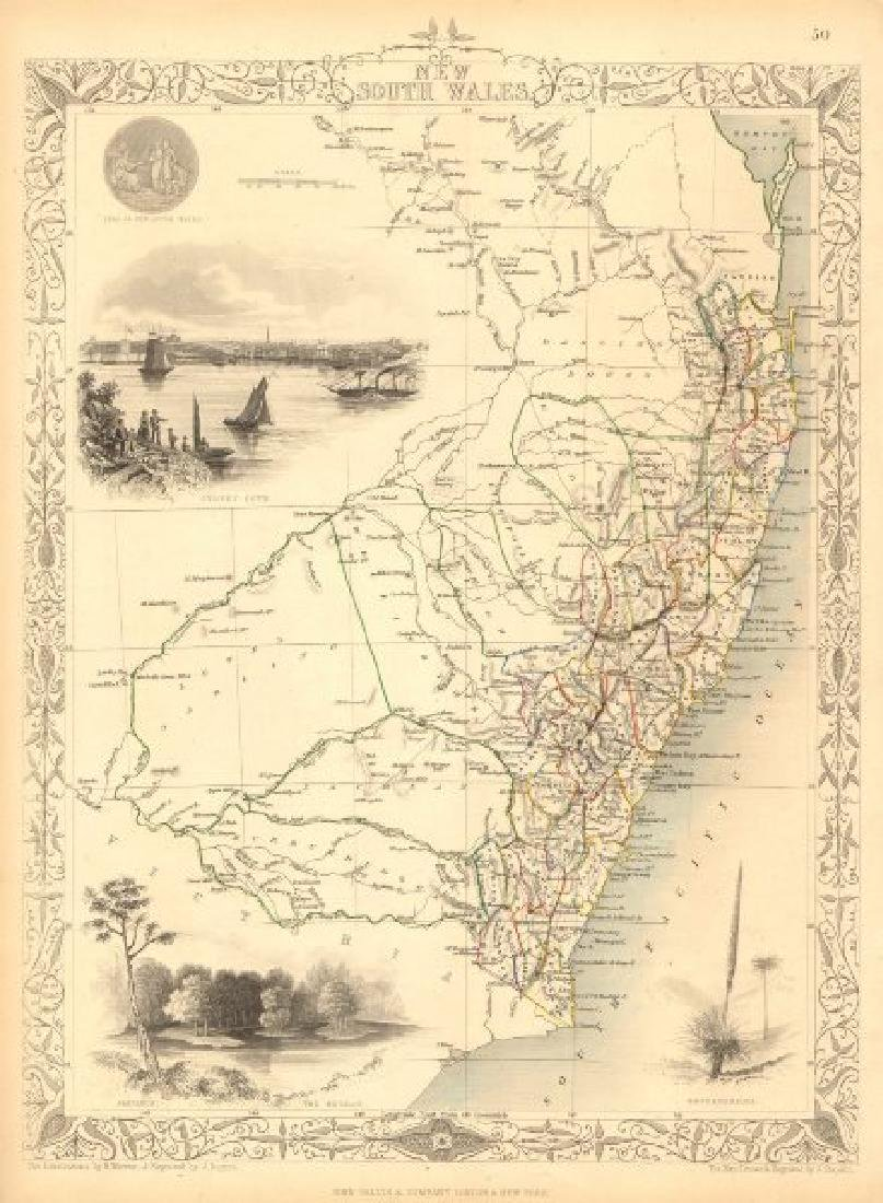 Tallis/Rapkin: Antique Map of New South Wales, 1851