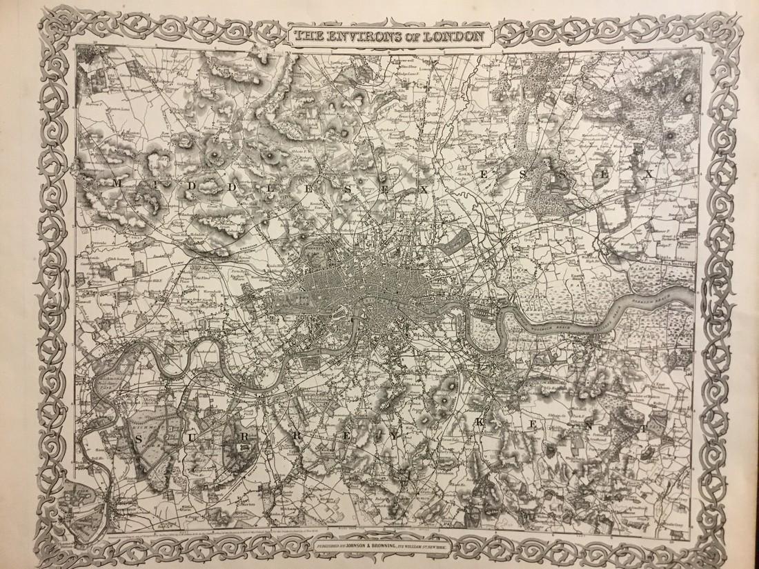 Colton: Antique Map of London, 1859