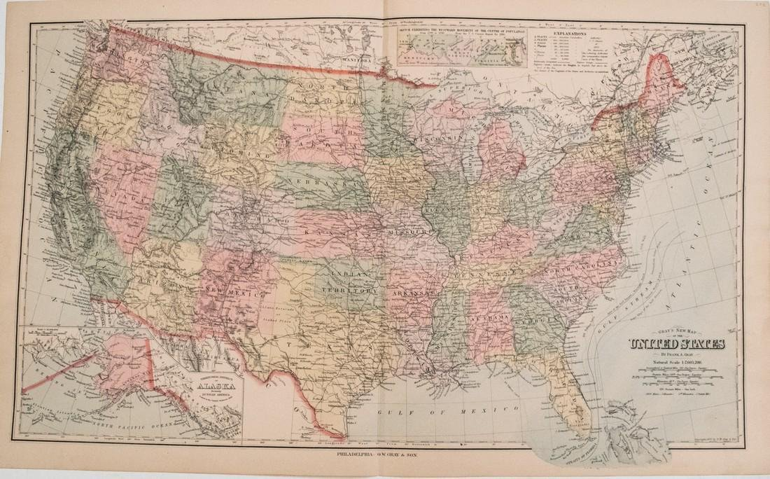 Gray: Antique Map of the United States, 1880