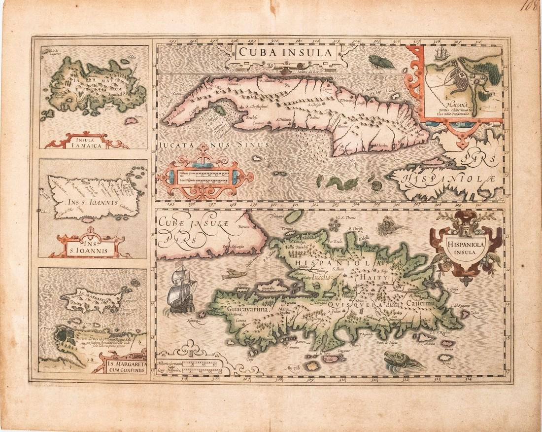 Mercator/Hondius: Antique Map of Caribbean Islands 1613