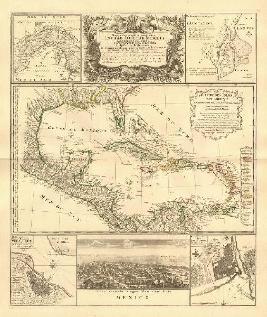 Homann/d'Anville: Antique Map of Caribbean, 1731