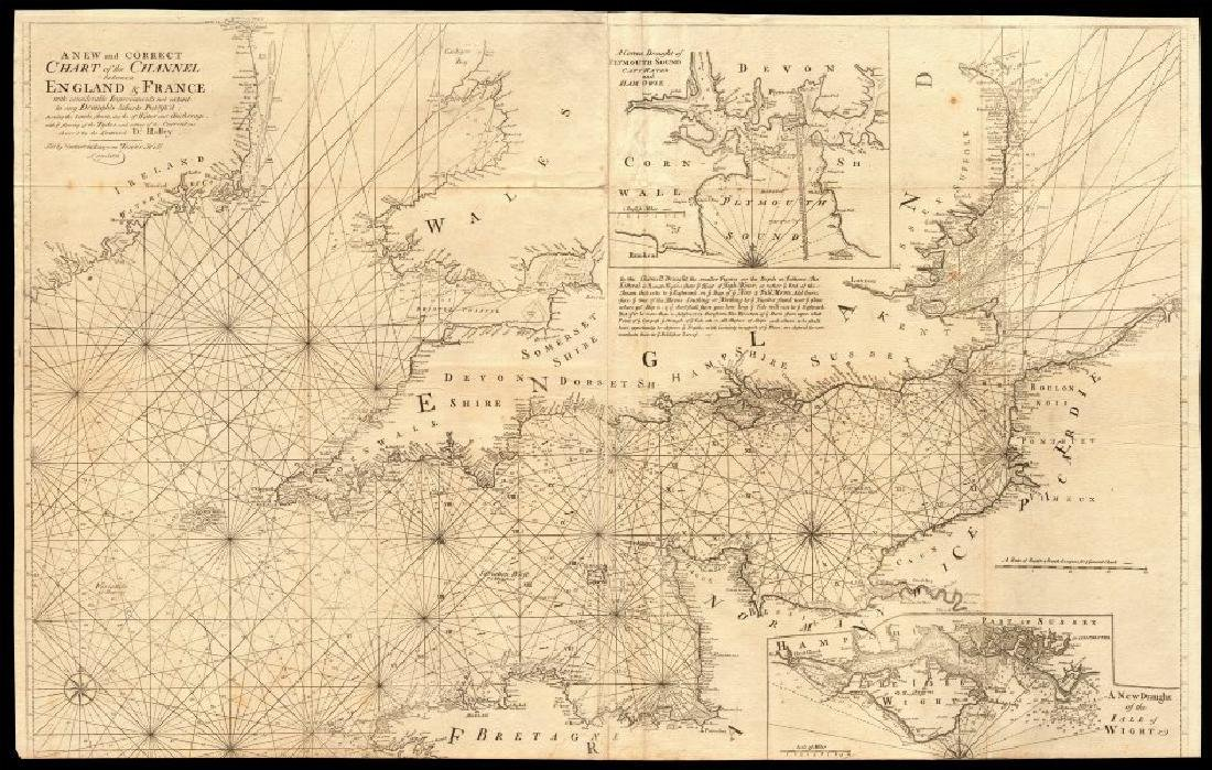 Collins: Antique Map of the English Channel, 1774