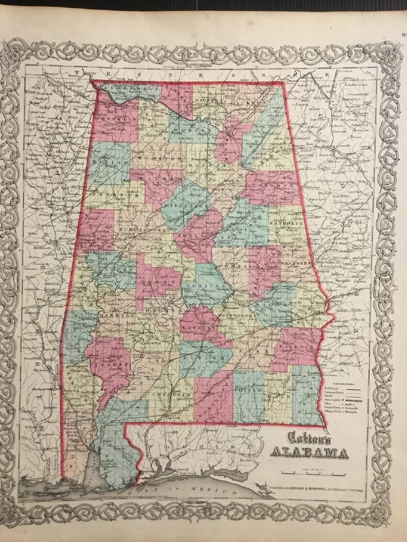 Colton: Antique Map of Alabama, 1859