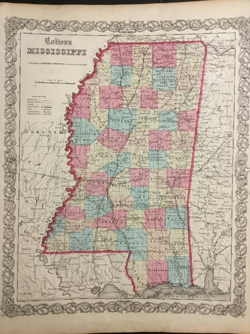 Colton: Antique Map of Mississippi, 1859