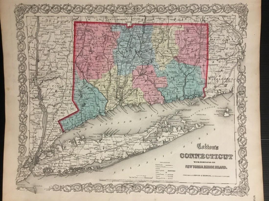 Colton: Antique Map of Connecticut, 1859
