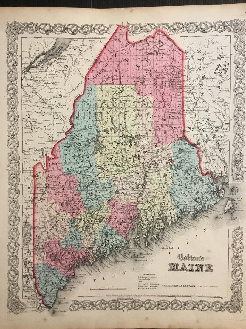 Colton: Antique Map of Maine, 1859