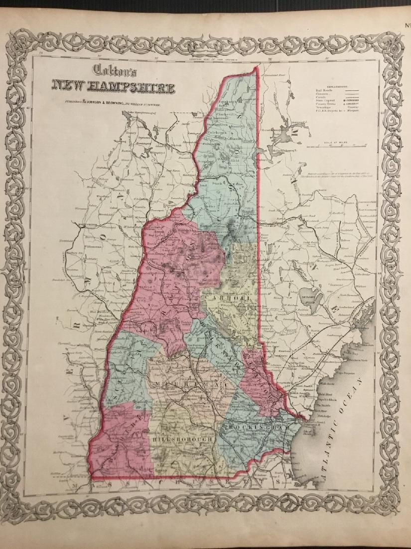 Colton: Antique Map of New Hampshire, 1859
