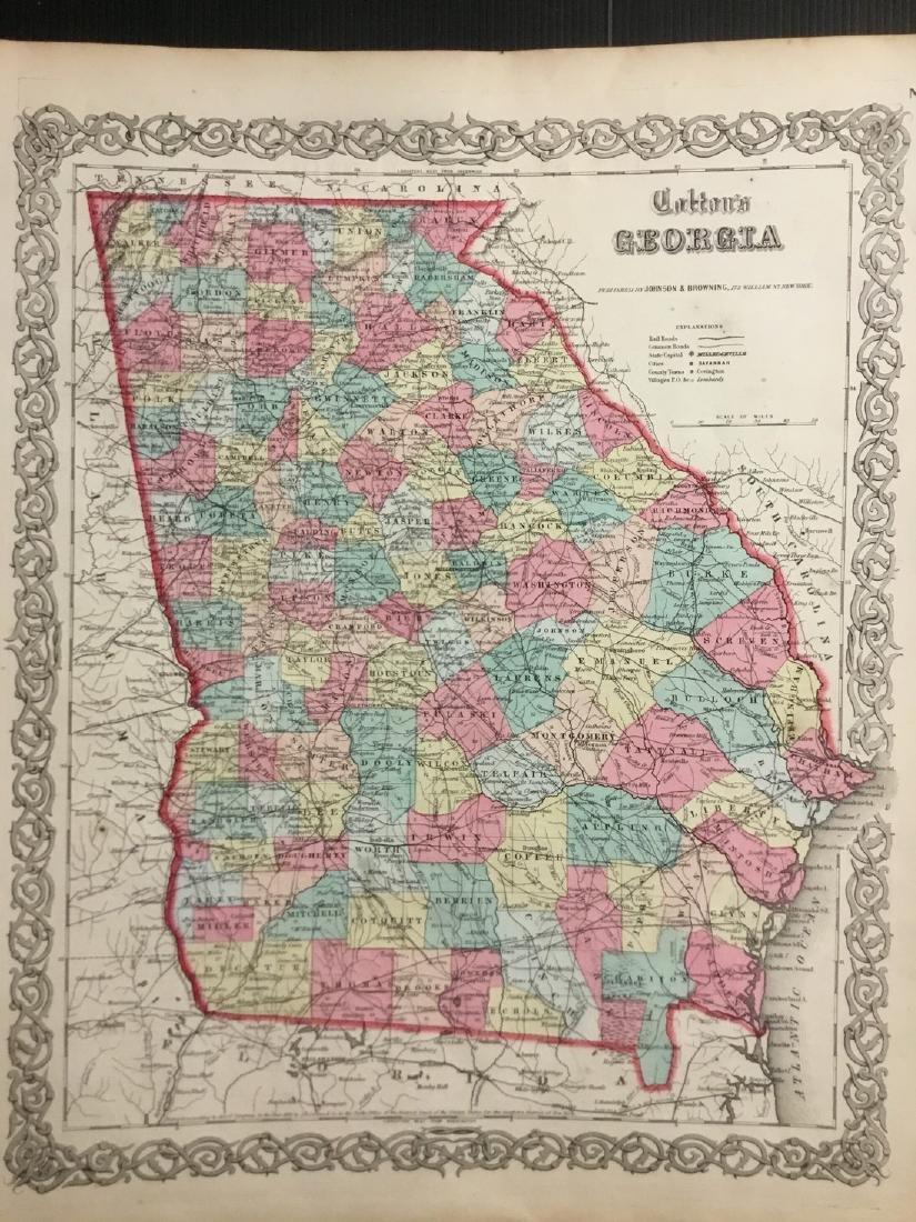 Colton: Antique Map of Georgia, 1859