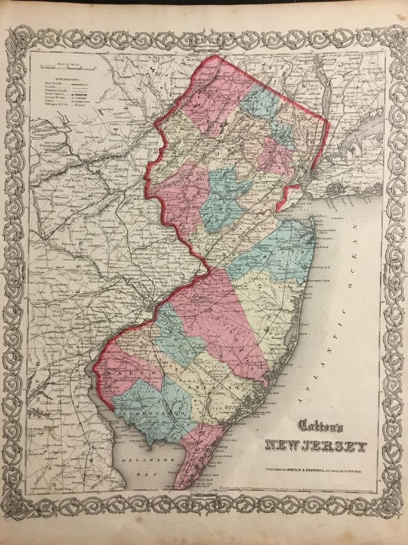 Colton: Antique Map of New Jersey, 1859