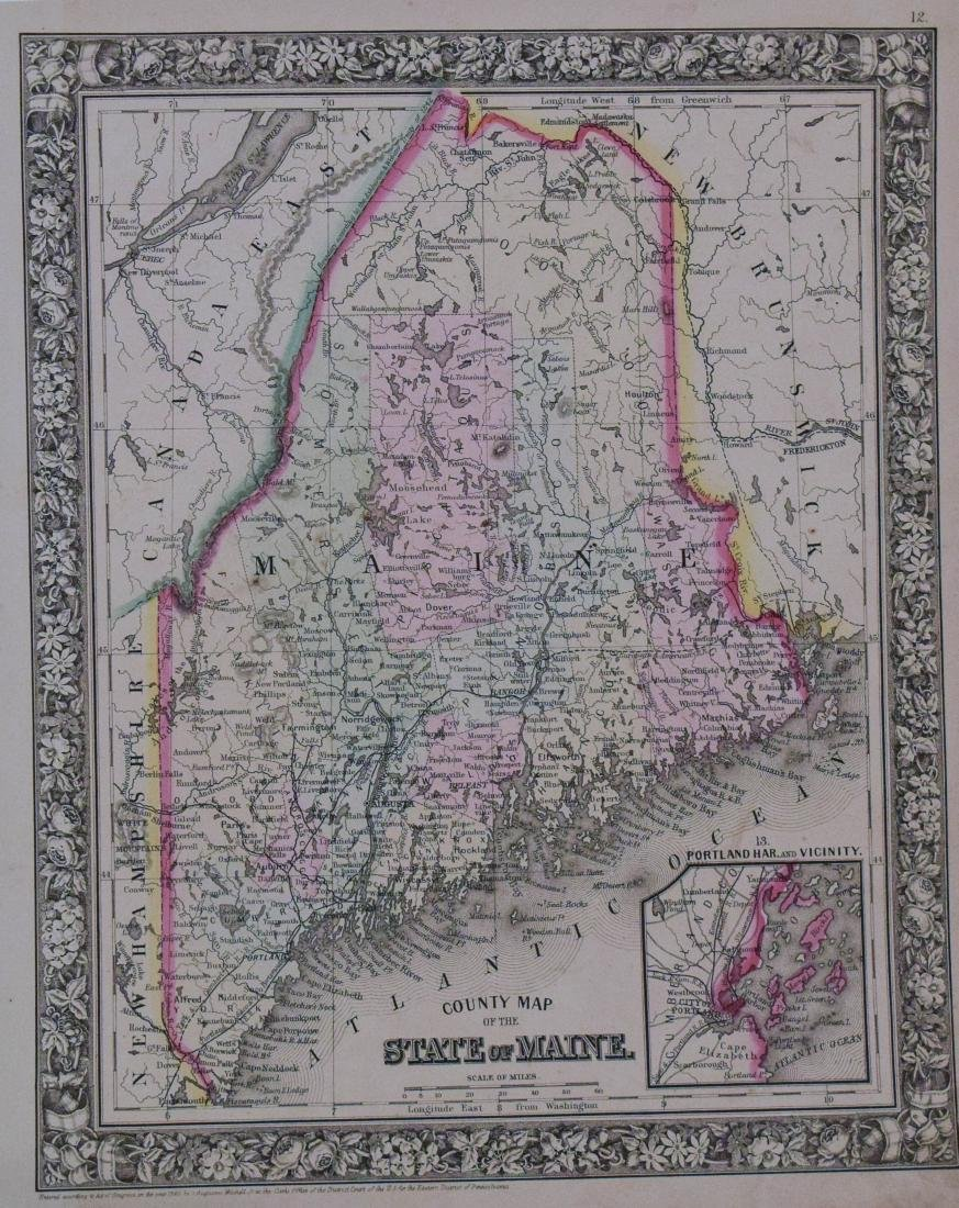 Mitchell: Antique Map of Maine, 1860