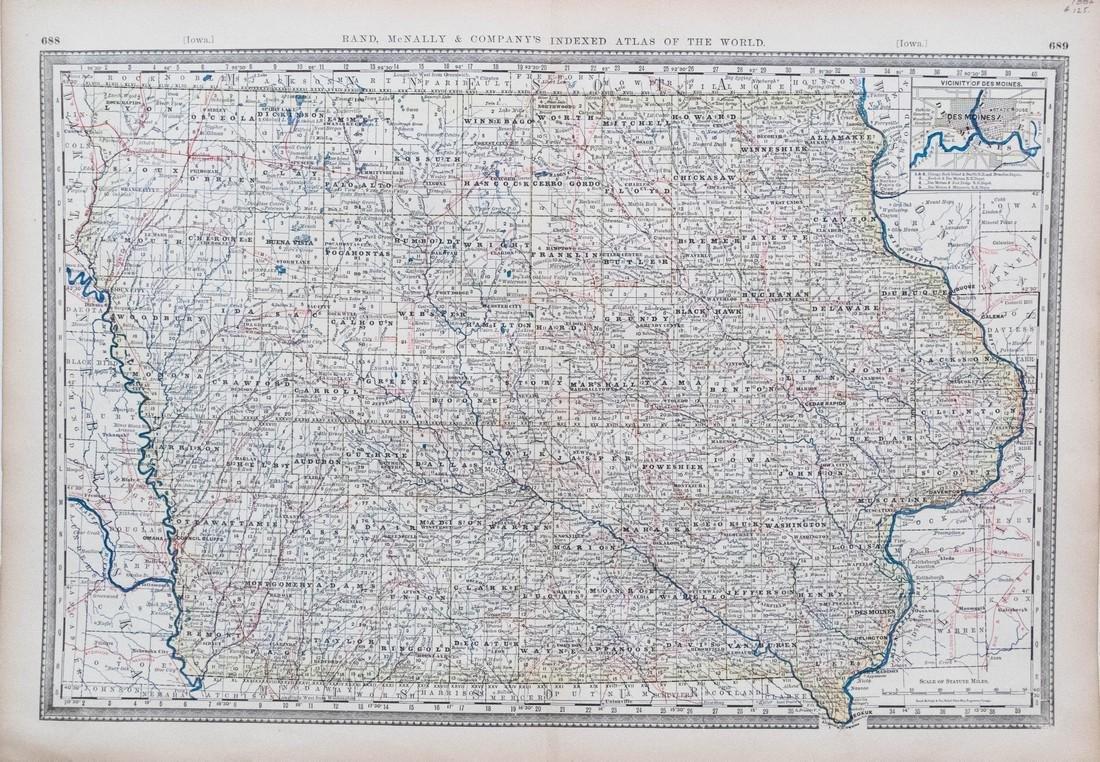 Rand McNally: Antique Map of Iowa, 1882