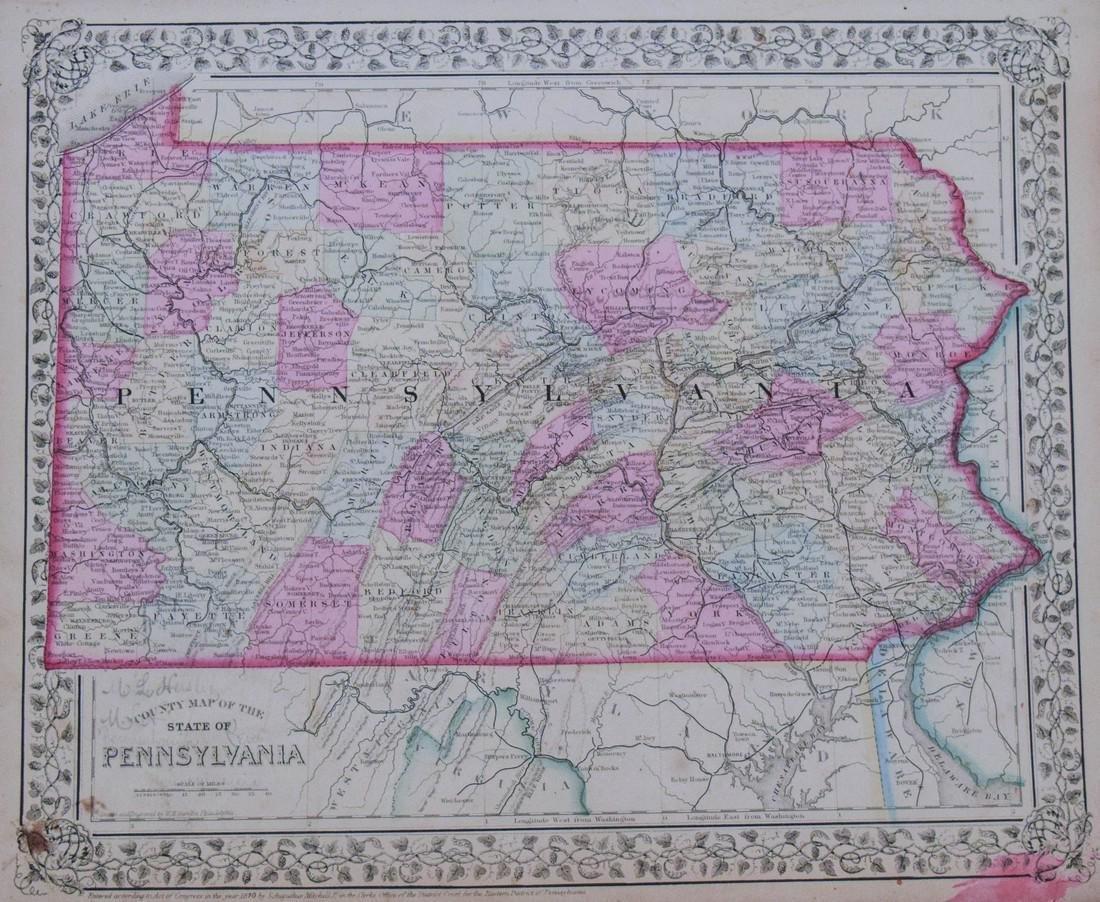 Mitchell: Antique Map of Pennsylvania, 1870