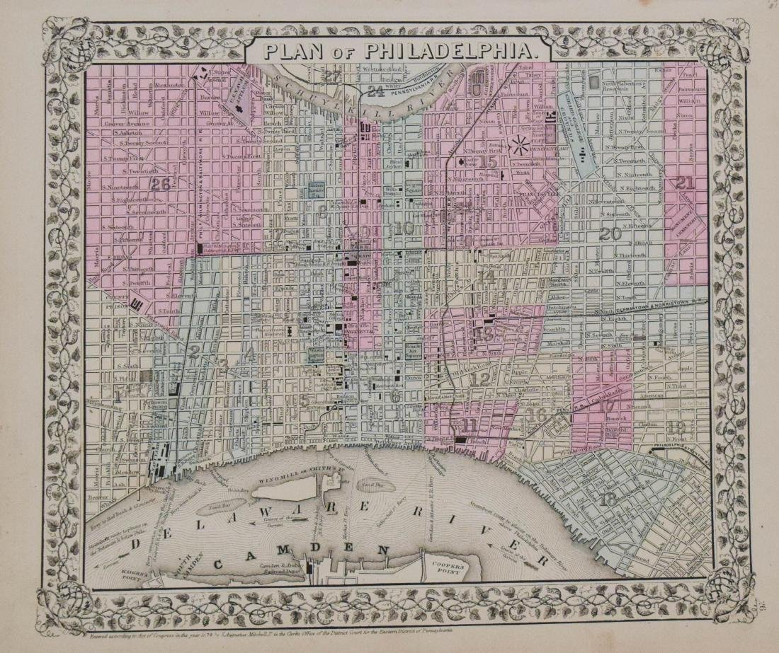 Mitchell: Antique Map of Philadelphia, 1870