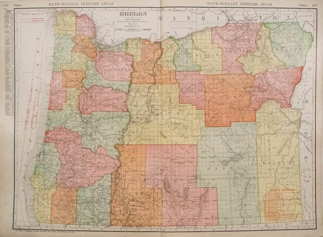Rand McNally: Antique Map of Oregon, 1911