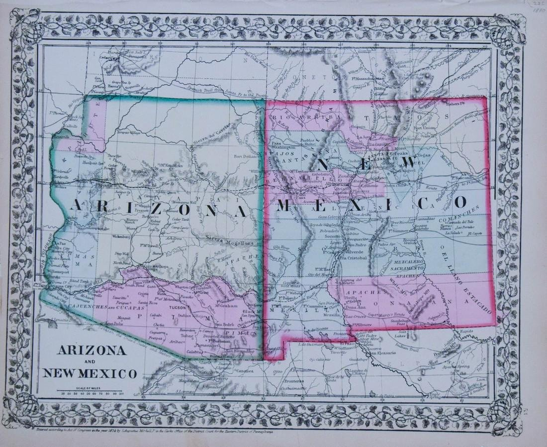 Mitchell: Antique Map of Arizona and New Mexico,1870