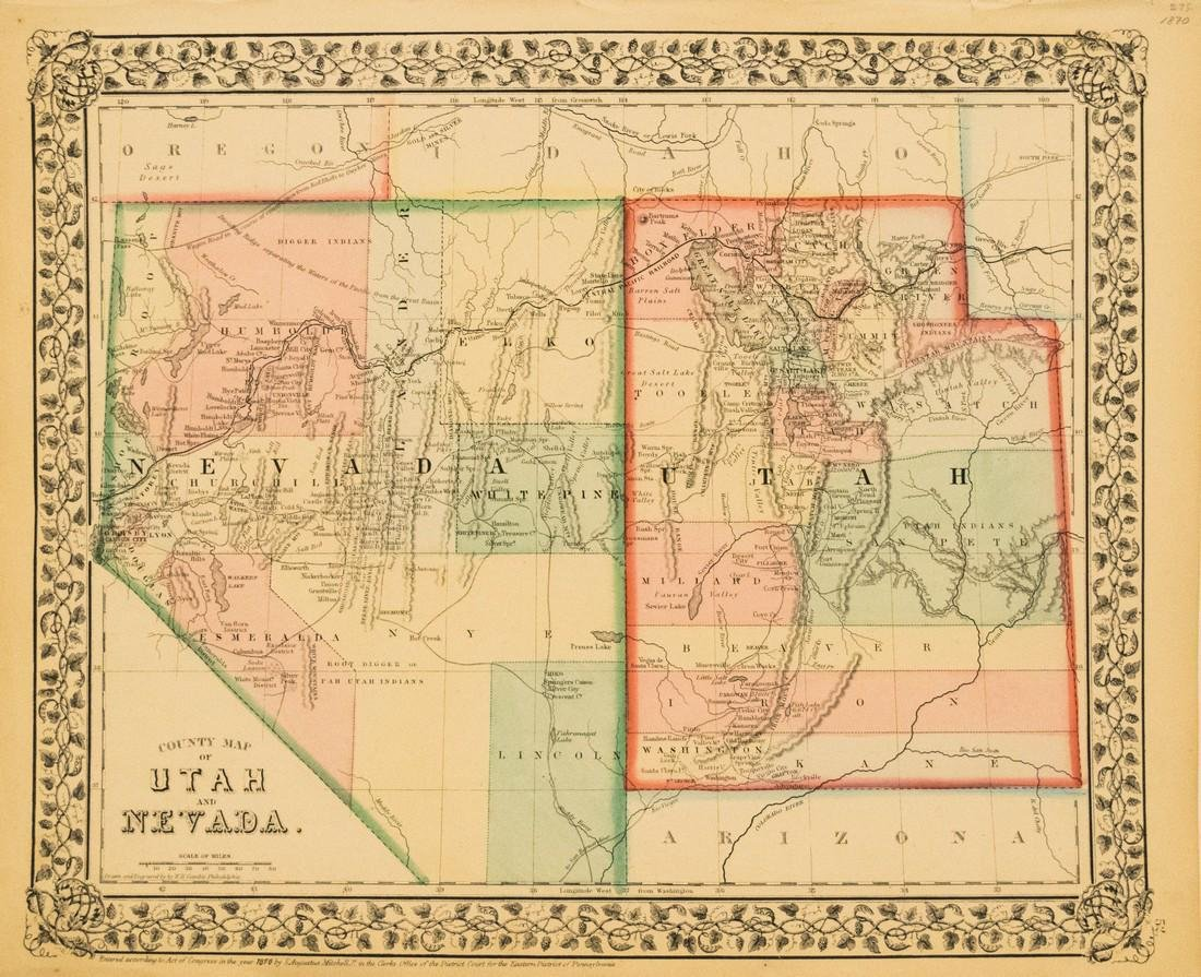 Mitchell: Antique Map of Nevada and Utah, 1870