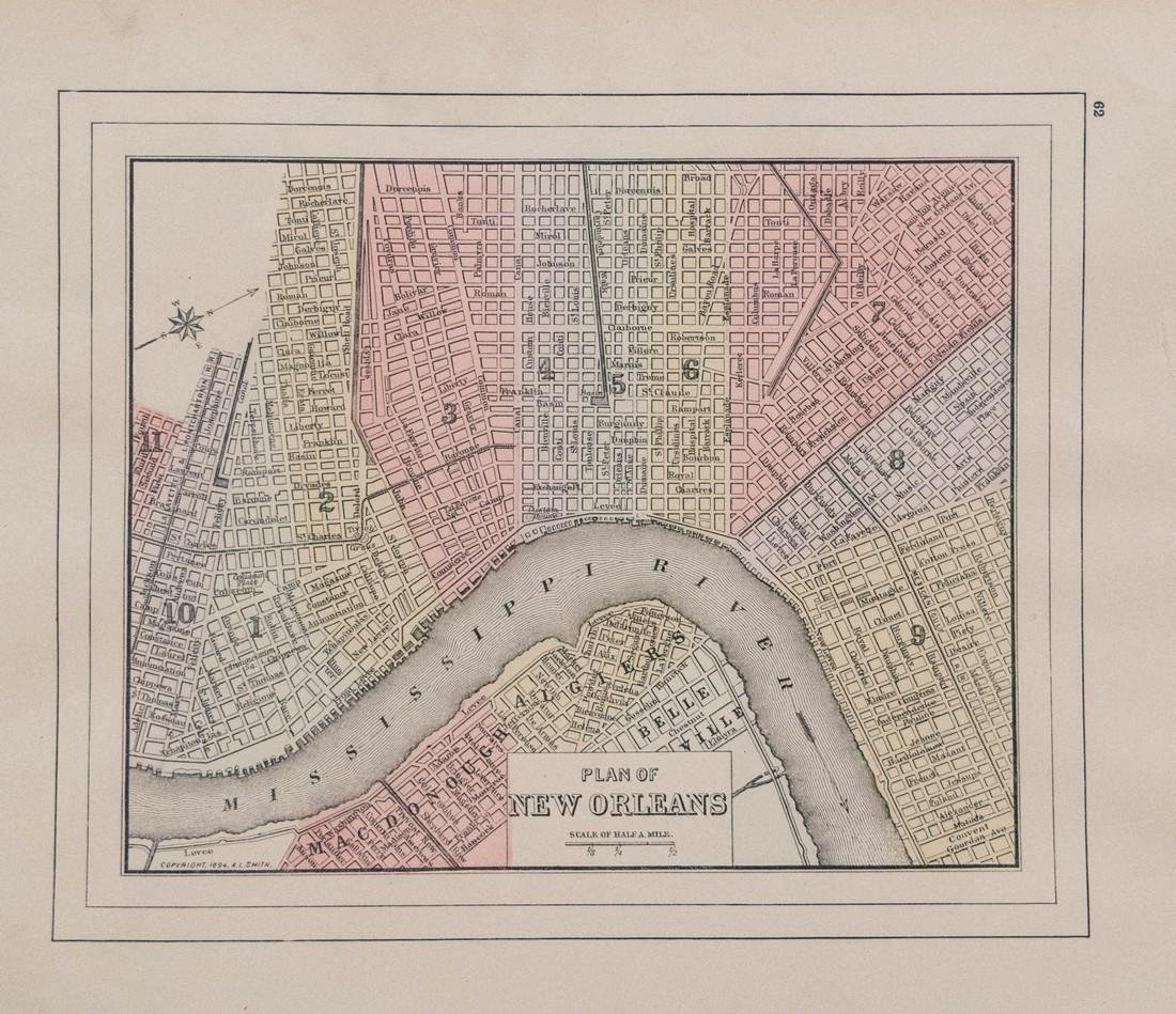 Wanamaker/Mitchell: Antique Map of New Orleans, 1894