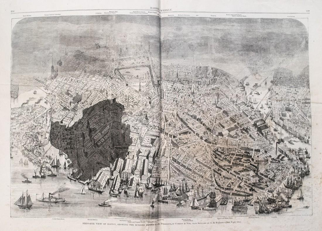 Antique Map and Prints of the Great Boston Fire, 1872