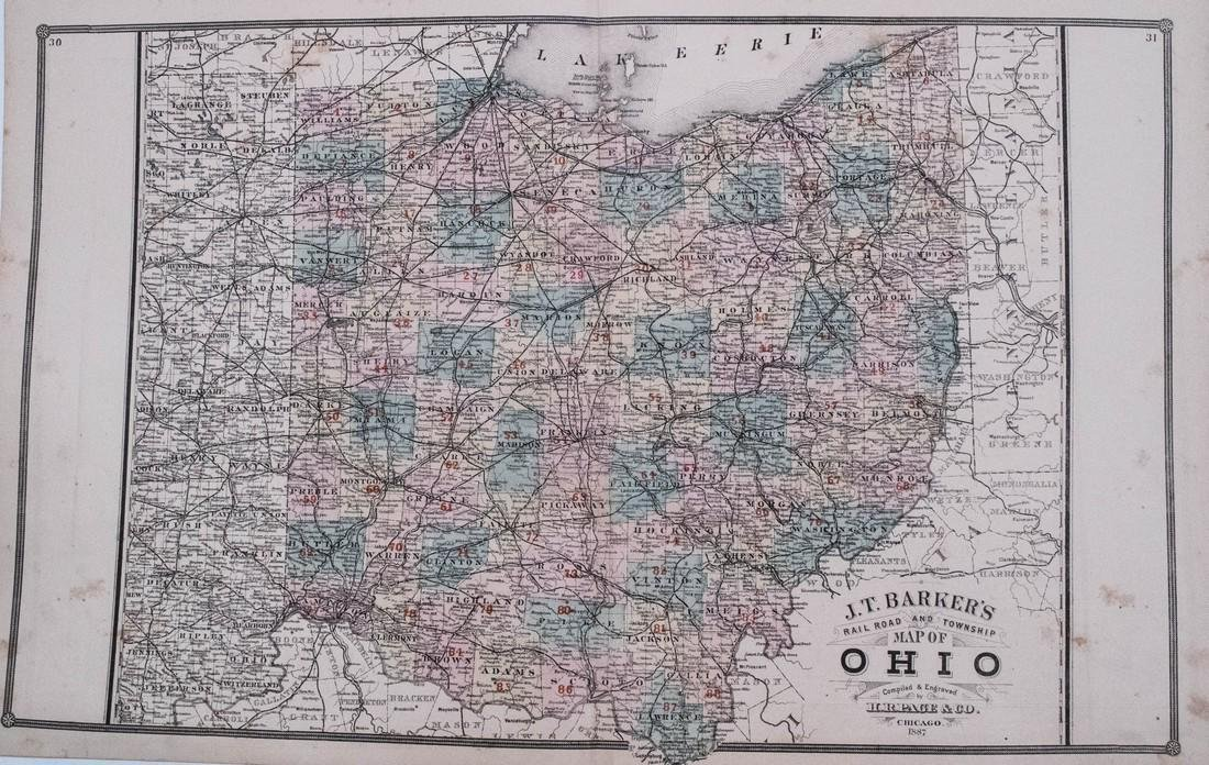 Barker / Page: Antique Map of Ohio, 1887