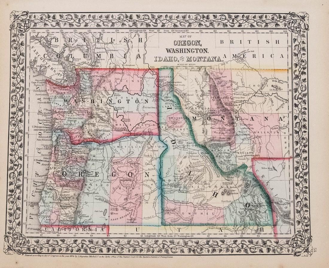 Mitchell: Antique Map of Oregon, Washington, 1870
