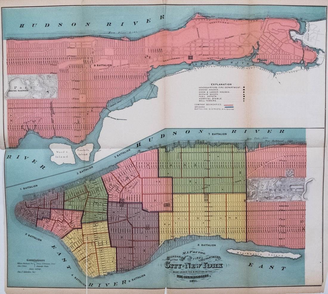 Hardy: Antique New York City Fire Department Map, 1871