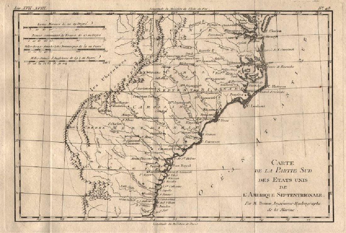 Bonne: Antique Map of the Carolinas, 1780