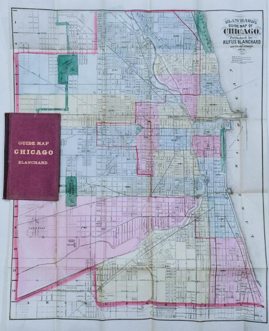 Blanchard: Antique Chicago Map One Year After the Fire