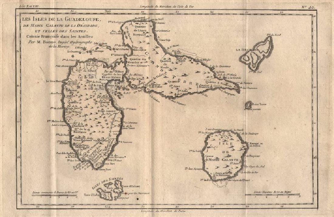 Bonne: Antique Map of Guadeloupe, Marie Galante 1780