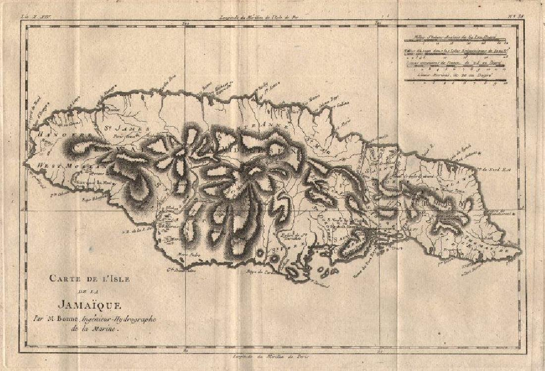 Bonne: Antique Map of Jamaica, 1780