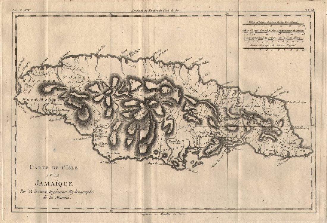 Bonne: Antique Map of Jamaica, 1780