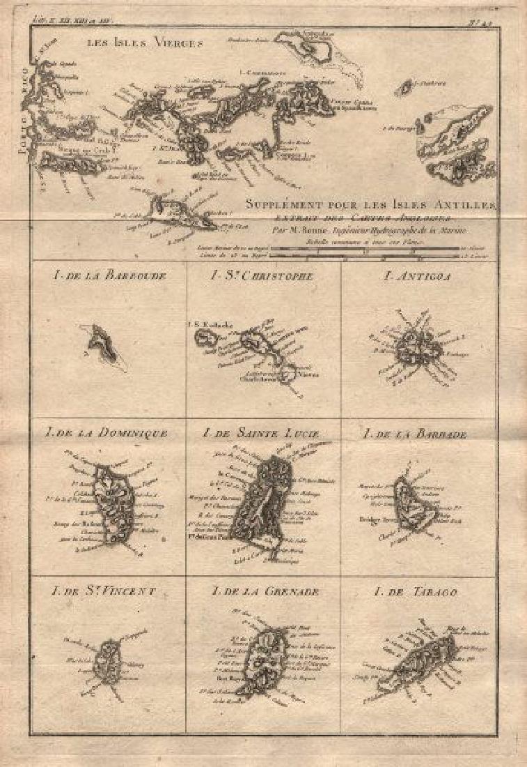Bonne: Antique Map of British West Indies, 1780
