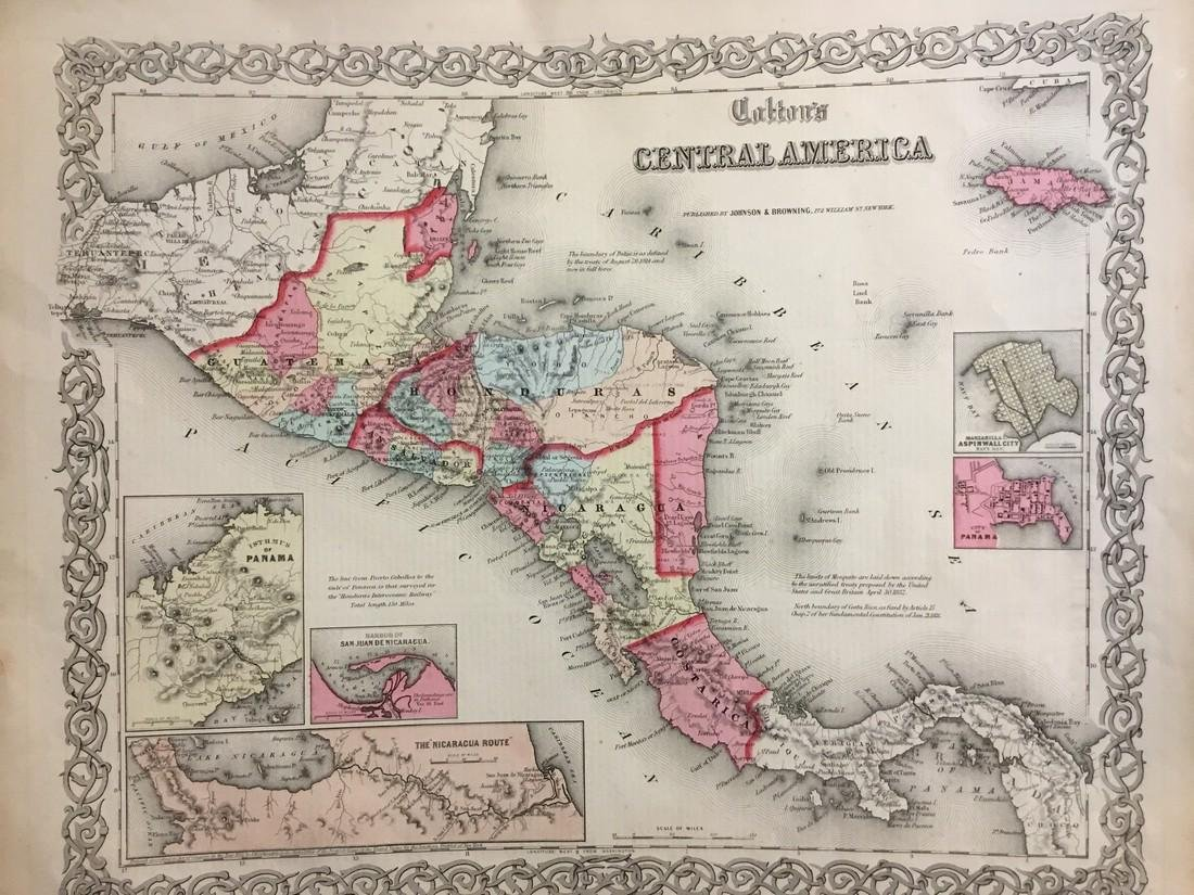 Colton: Antique Map of Central America, 1859