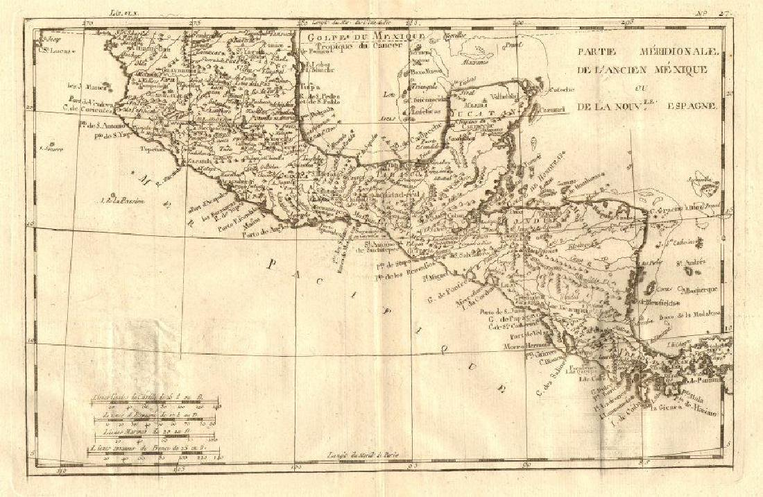 Bonne: Antique Map of Southern Mexico, 1783