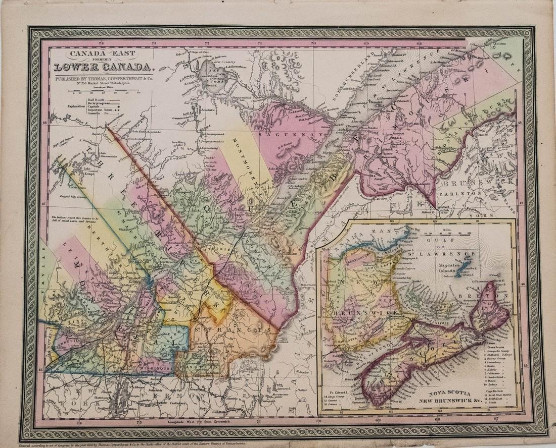 Cowperthwait: Antique Map of Lower Canada, 1850