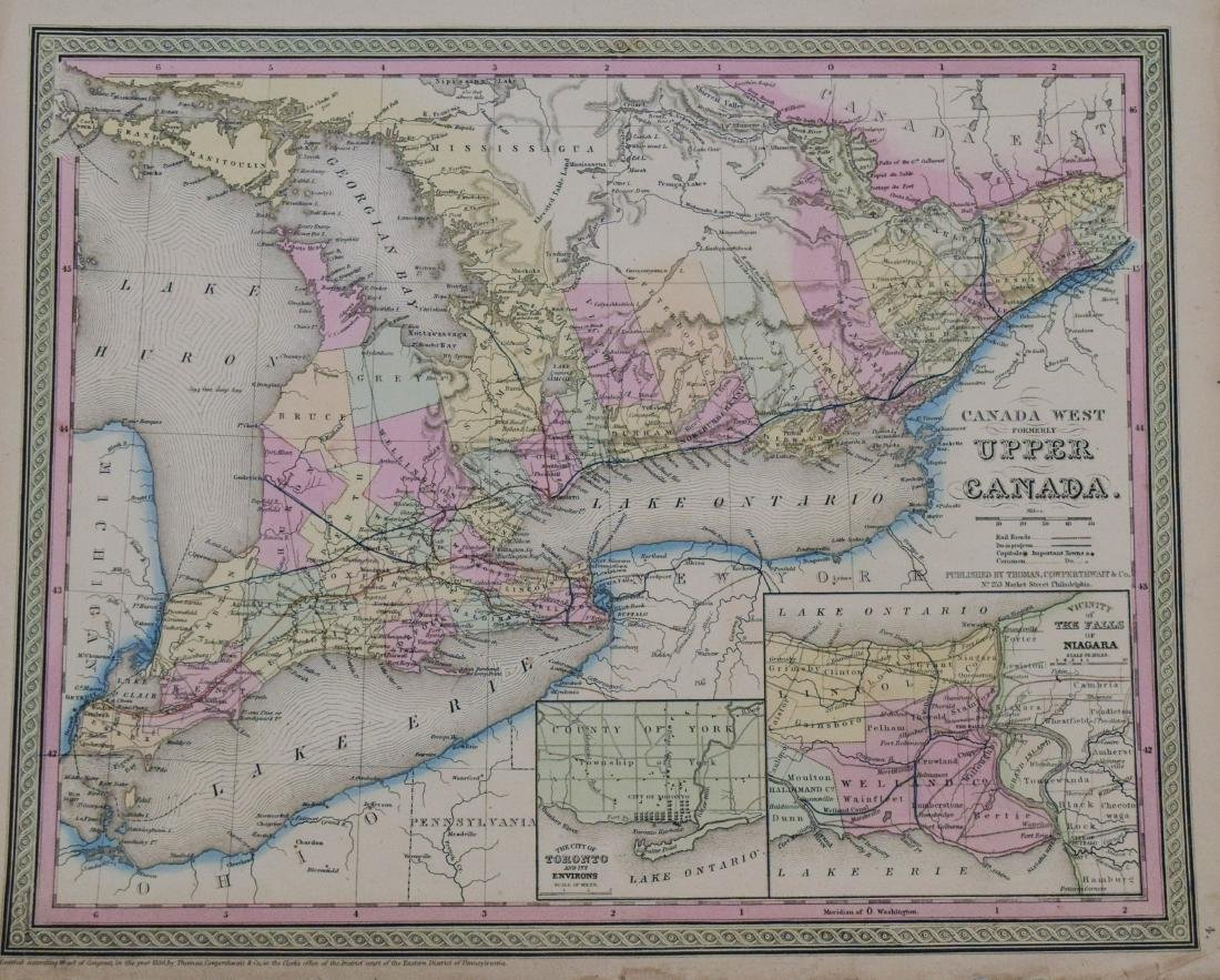 Cowperthwait: Antique Map of Upper Canada, 1850