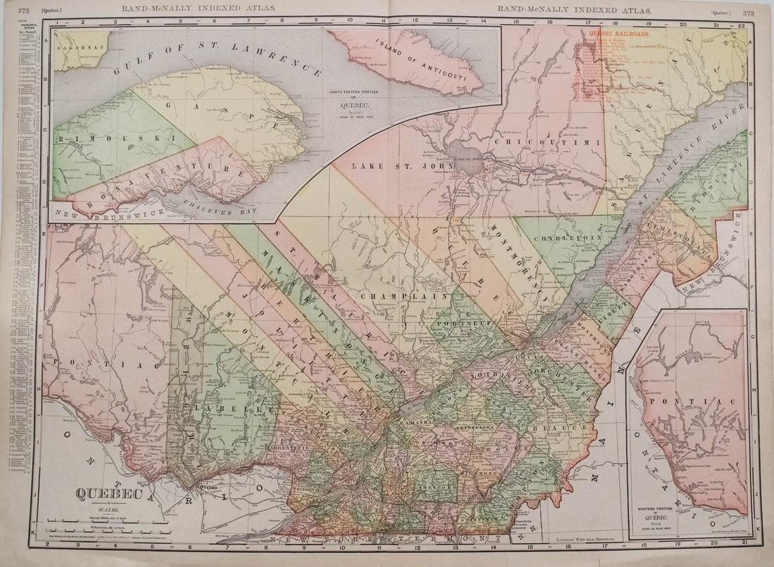 Rand McNally: Antique Map of Quebec, 1911
