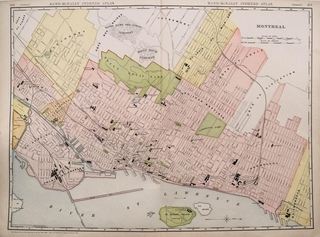Rand McNally: Antique Map of Montreal, 1911