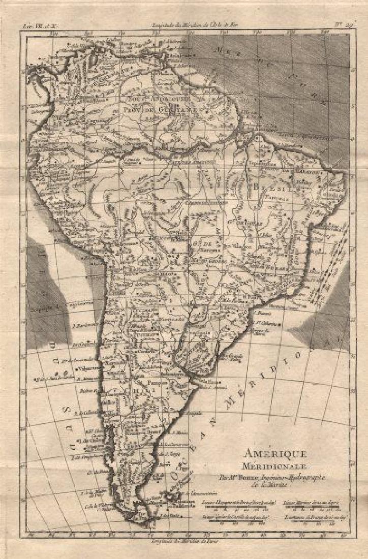 Bonne: Antique Map of South America, 1780