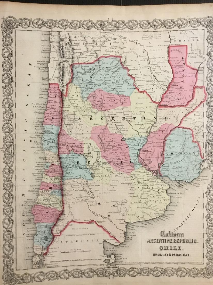 Colton: Antique Map of Argentina & Chile, 1859