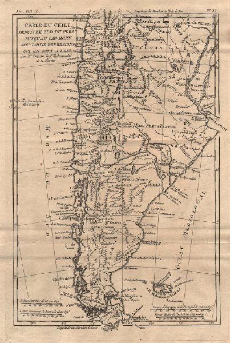 Bonne: Antique Map of Chile, 1780