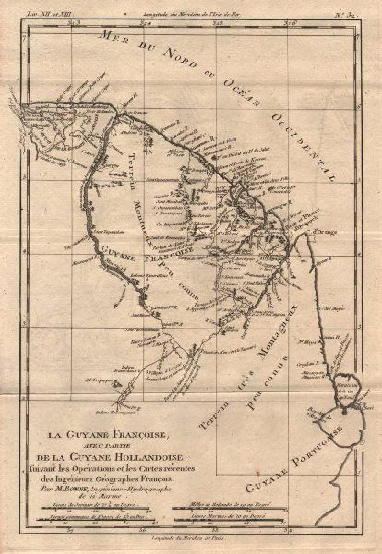 Bonne: Antique Map of French Guiana, 1780