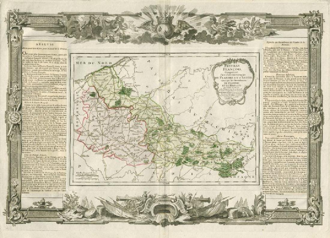Desnos/de la Tour: Antique Map of French Low Countries