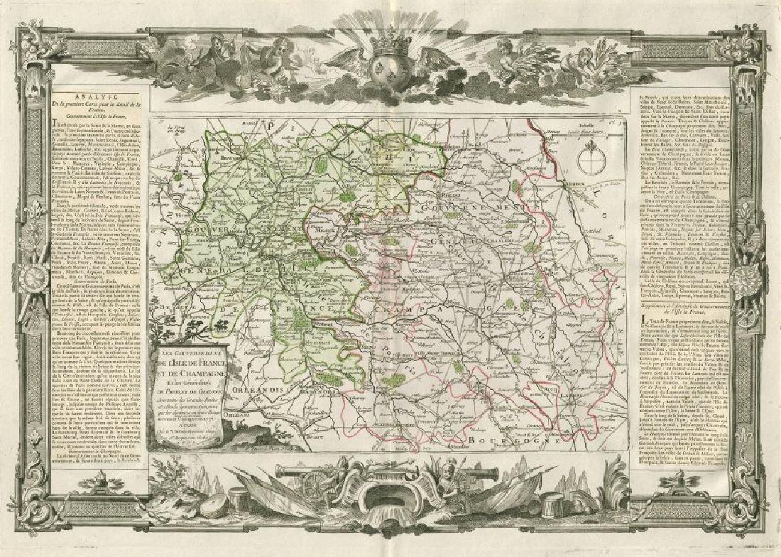 Desnos/de la Tour: Antique Map of Île-de-France, 1771