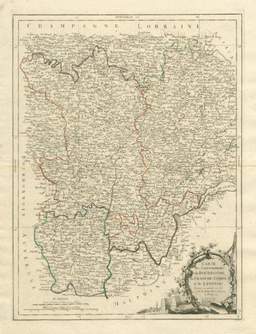 Santini/Bonne: Antique Map of Burgundy, 1784