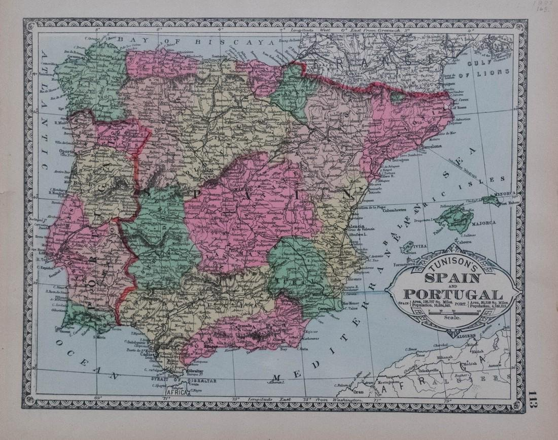 Tunison: Map of Spain, Portugal, 1885
